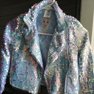 Disney Frozen Girls Sequined Jacket Never Used